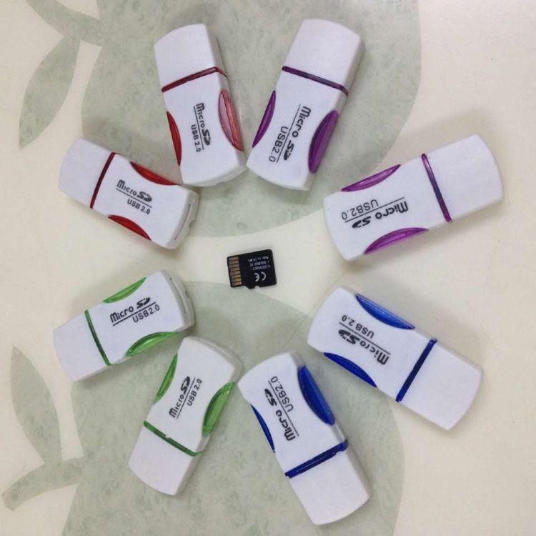 Hohe Qualität USB 2.0 Kartenleser T-Flash-Kartenleser Einzelsteckplatz Panda-Kartenleser-Adapter mit LED-Licht schnelles Verschiffen