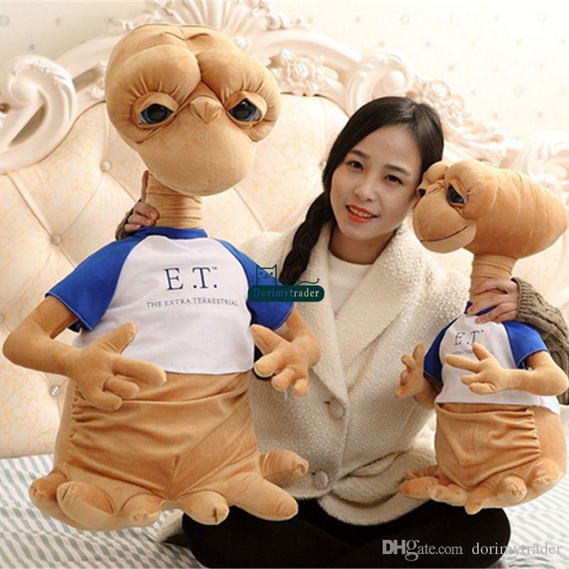 Dorimytrader Hot Pop Anime Alien Plush Toys Giant 70cm Stuffed Soft ET Doll with Shirt for Children Gifts Decoration DY60939