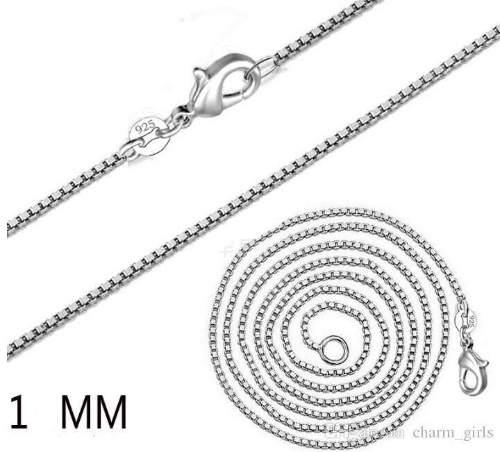 2021 Yeni Moda 20 adet / grup 925 Ayar Gümüş 1mm Kutu Zincir Kolye 16