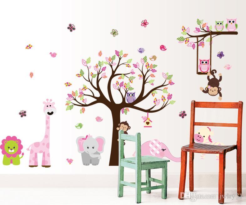 Vendas de Ano Novo 300x130 cm Tamanho Grande Rosa Floresta Animal Macaco Corujas Árvore Adesivo De Parede de Vinil Mural Decalque Meninas Decoração do Quarto presentes