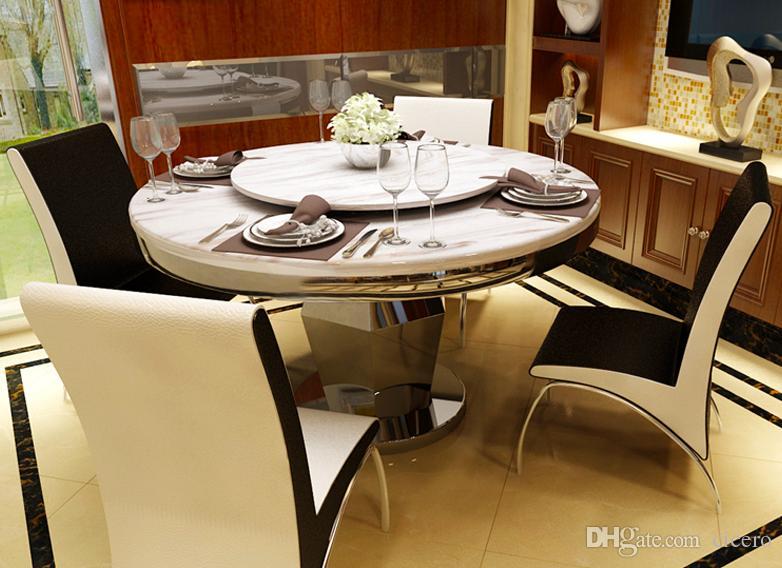 Compre mesa giratoria mesa de comedor juego de m rmol con for Precio juego de comedor con 6 sillas