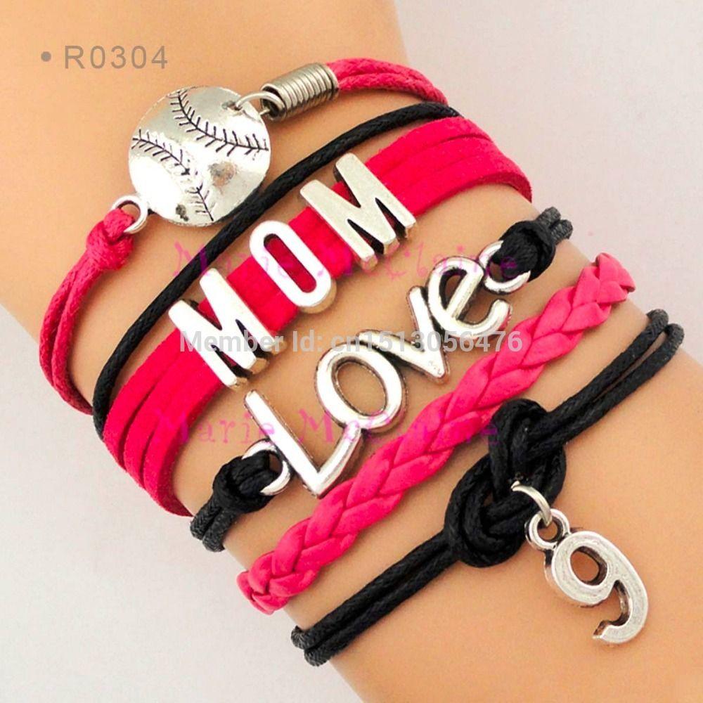 2017 Baseball Mom Softball Mom Love Athletes Number Charm Wrap Bracelet  Personalized Sports Team Mom Bracelet Custom Name & Number From  Mariemcclaine,