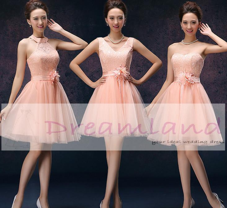 Three Patterns Short Pink Bridesmaid Dresses Tulle Shirt Lace Bodice ...