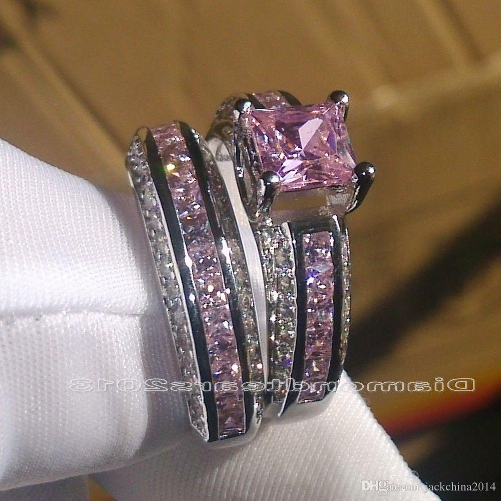 Tamaño 5-10 Joyería de moda al por mayor 10kt oro blanco lleno Princess Cut Pink Sapphire piedras preciosas mujeres boda nupcial pareja anillo conjunto regalo