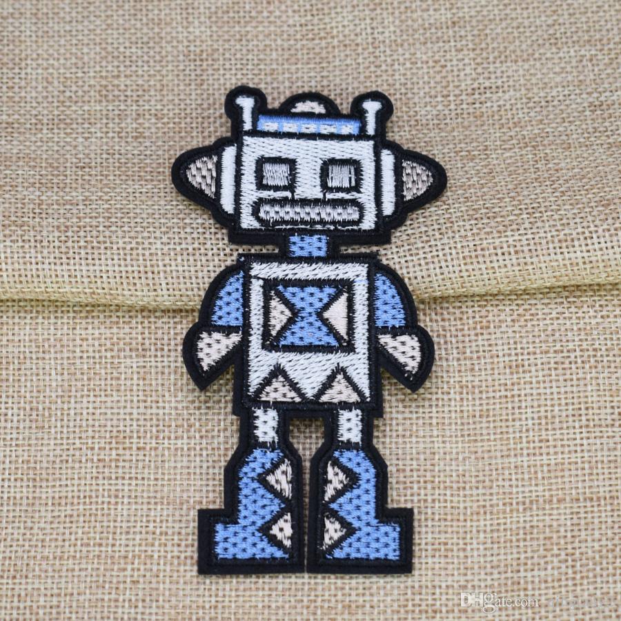 Bonito Robô Bordado Patches para Sacos de Vestuário de Ferro em Apliques de Transferência de Patch para Jaquetas De Vestuário DIY Costurar em Bordado Emblema