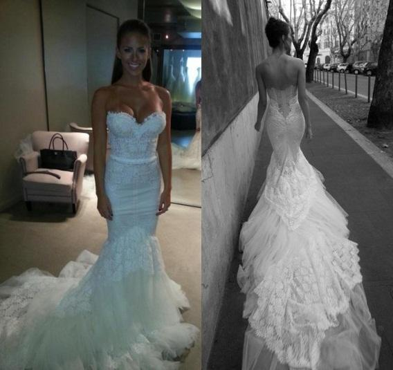 Inbal Dror 2015 가을 겨울 화이트 레이스 인어 공주 웨딩 드레스, 연인 슬림 코르셋으로 Bodice Tulle Trimed Cathedral Train Bridal Gowns