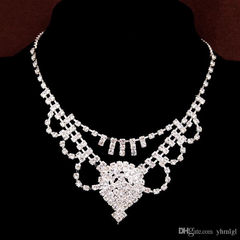Yeni Varış Gümüş Kaplama Rhinestone Avusturyalı Kristal Kolye Küpe Bilezik Yüzük Düğün Gelin Gelin Takı Setleri