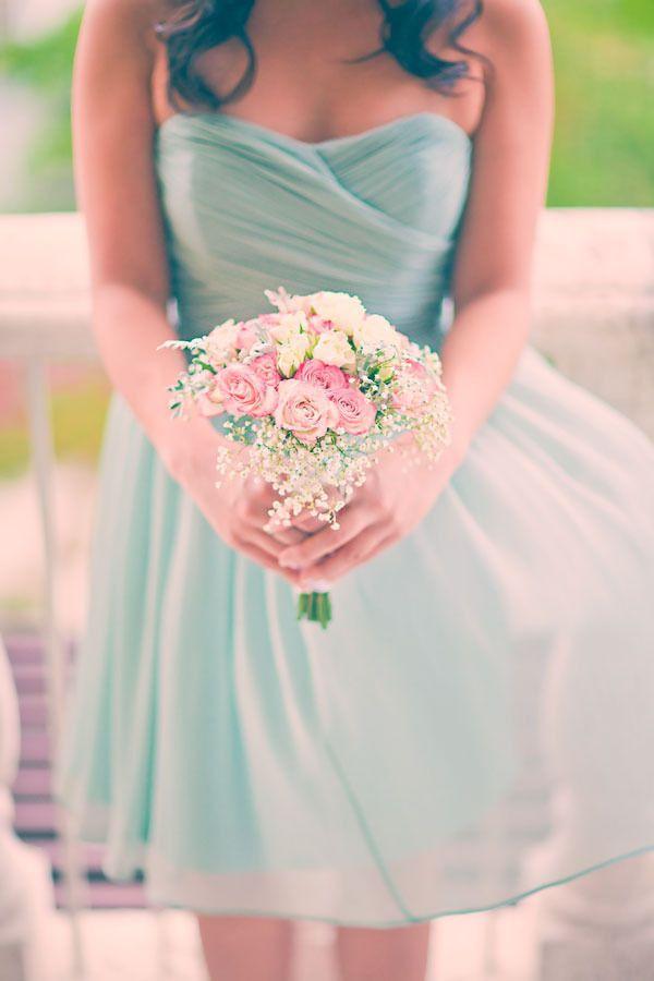 Mint Green Short Bridesmaid Dresses Chiffon Vestido De Fiesta Zipper A Line Pleated 2015 Above Knee Lengt Maid Of Honor Dress Formal Dresses