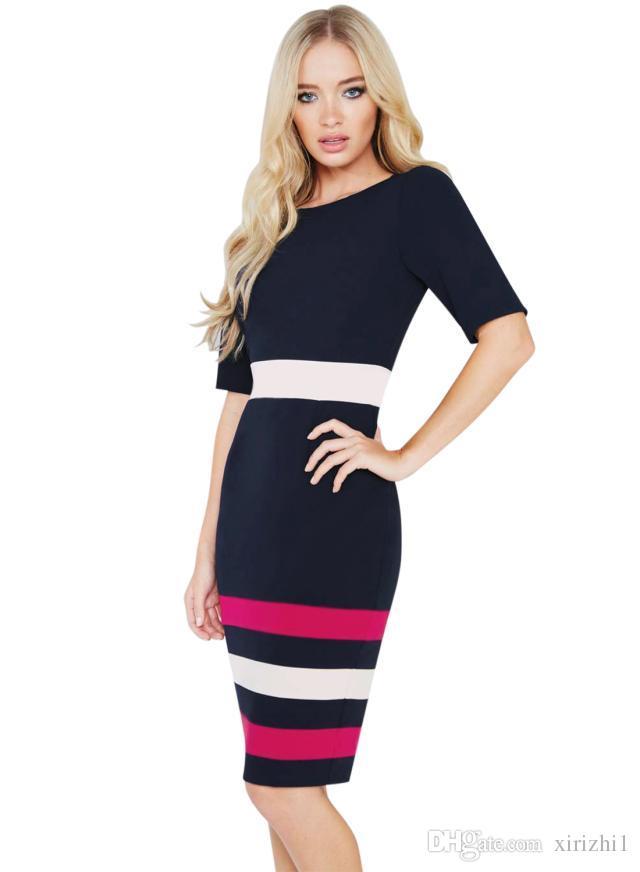 4e661d0df8 2017 women dress autumn winter half sleeve Blends cotton bodycon pencil  dress casual striped dress work