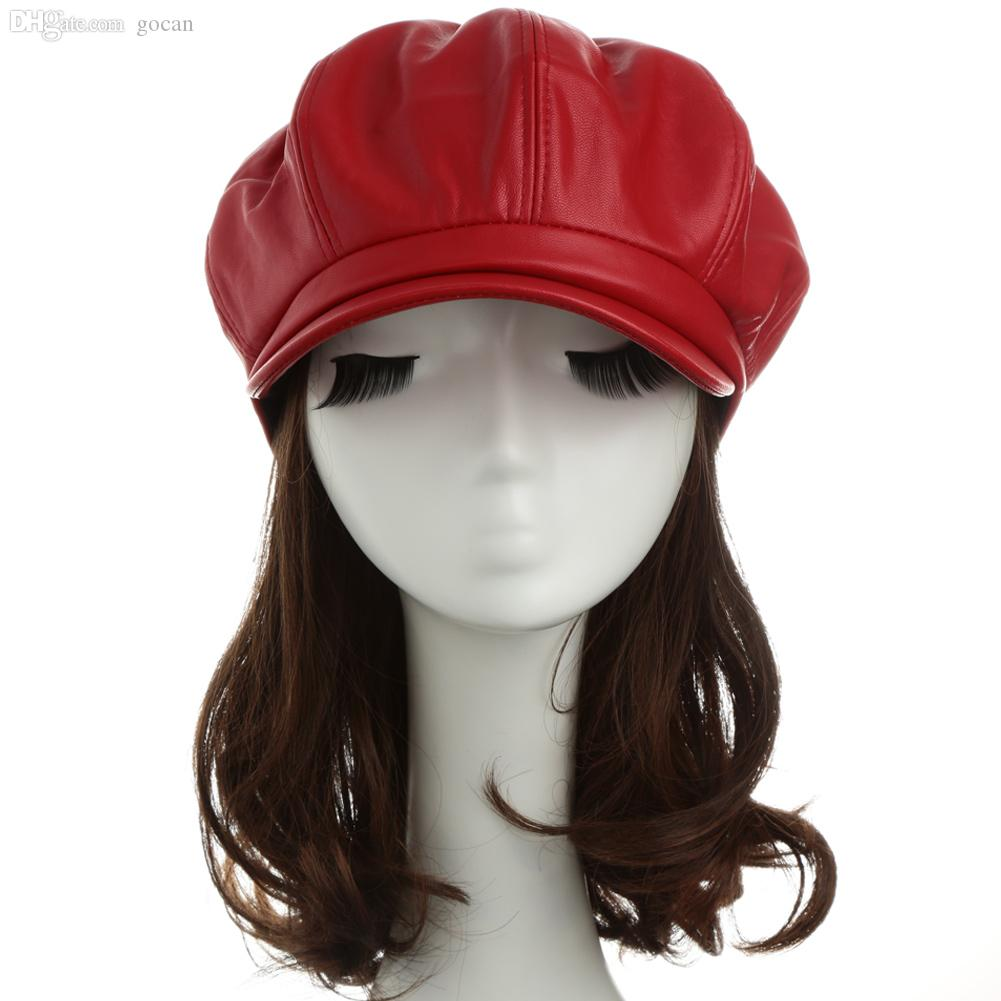 Wholesale-Women Winter Hats PU Leather Beret Hat Ladies Cap Casual Beret Cap  New Fashion Beanie Hat Black Red Camel Hat Pillow Hat Bands for Cowboy Hats  ... 0e2604c9f6a