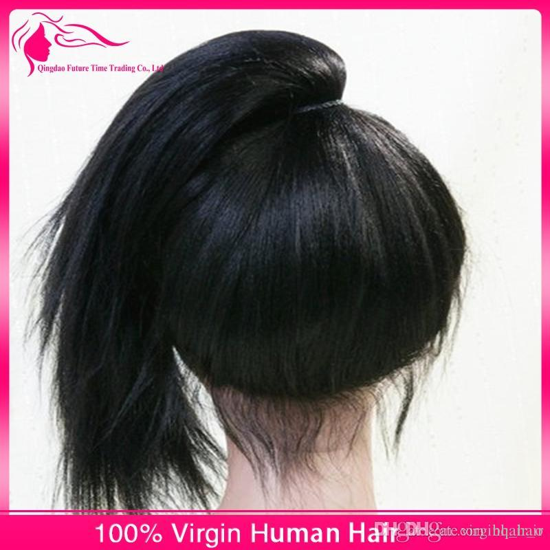 Peruvian Straight Virgin Human Hair Silk Base Full Lace Wigs Natural Color 4*4 Silk Top Lace Front Wig Middle Part For Black Women