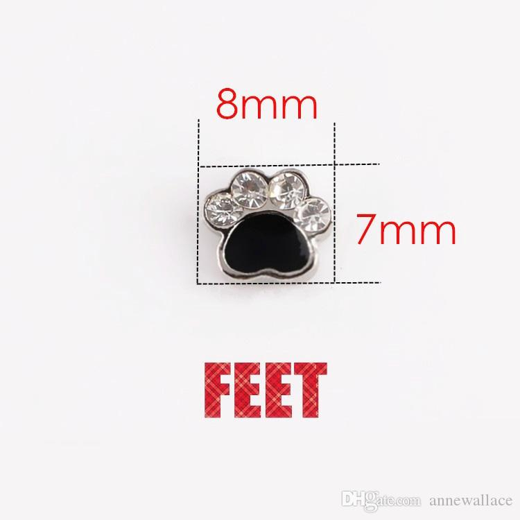 DIY ALLOY rhinestone animal bear paw 7*8mm floating charms for glass memory lockets good quality and
