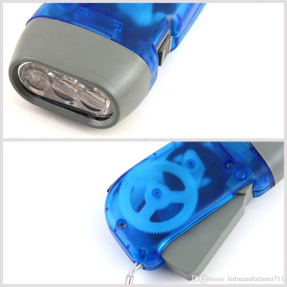 2016 New Arrival protable 3 LED Dynamo Wind Up Flashlight Torch Light Hand Press Crank NR Camping
