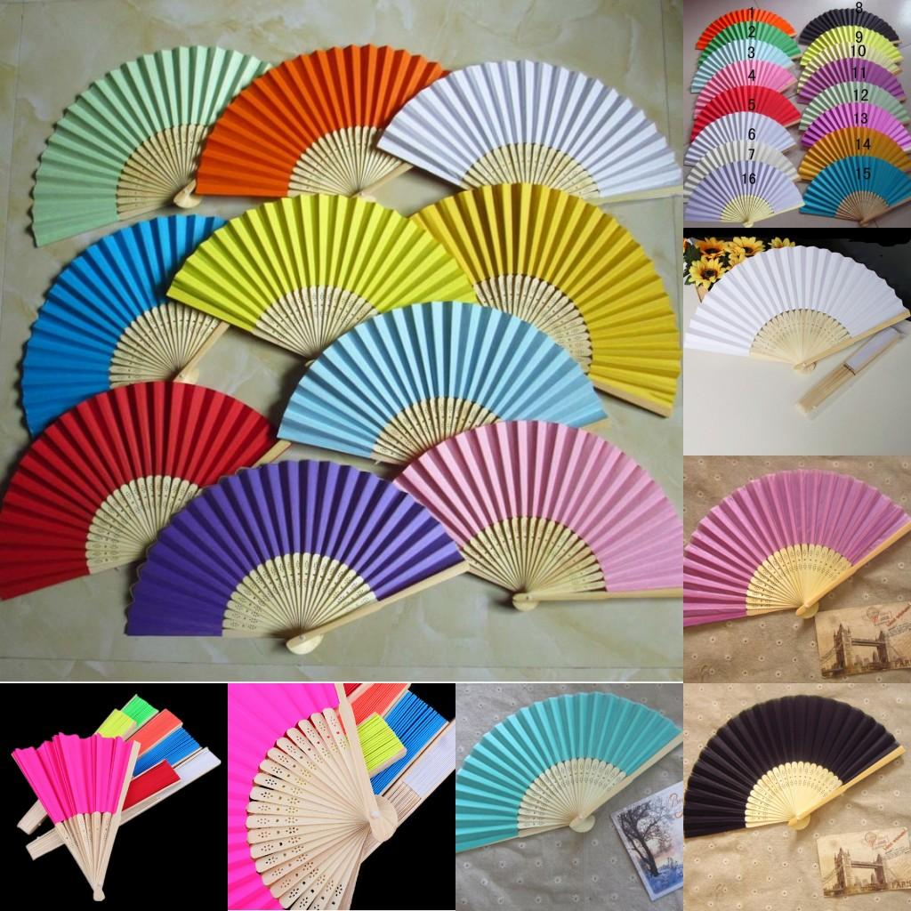Wedding Paper FanBride Hand Fan With Bamboo RibsCraft Solid Color Decoration Party Favor Fans Bride