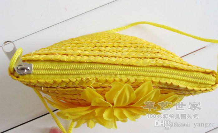 Fashion Cute Wheat Straw Mini Bags With Zipper Crochet Knitting Nature Plant Beach Bags Candy Colors Handbags Women Children Gift F078