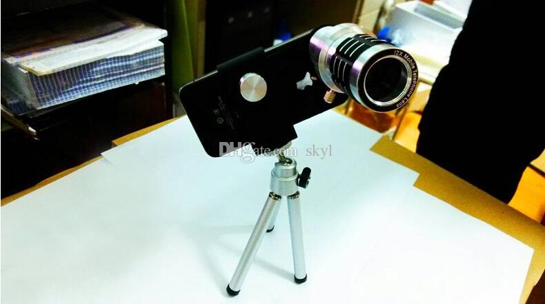 Universal 12x Optical Zoom Telescopes Camera Lens + Cell Phone Tripod Holder For Mobile Phone Samsung S4 S5 Note 3 Note 4 iPhone 5 5S 6 Etc