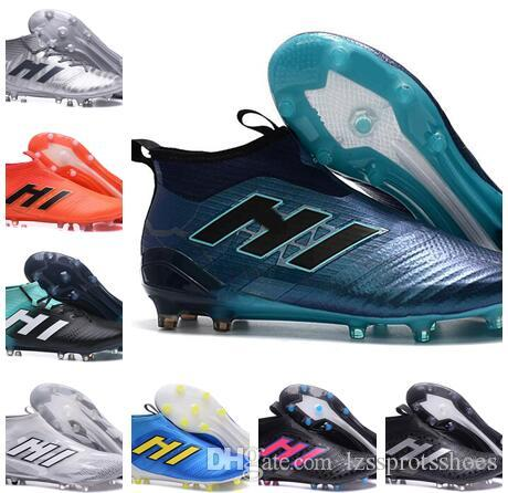 2019 ACE 17+ Purecontrol FG Thunder Storm Botas De Fútbol De Fútbol Sin  Cordones Botas De Fútbol Para Hombre Zapatos De Fútbol Con Tobillo Alto Por  Encima ... 18c7f026e64c7