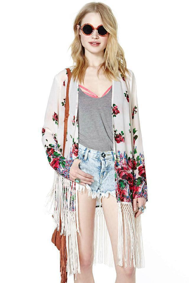 Discount 2016 Women Lace Kimono Jacket Fringed Shawl Fashion ...