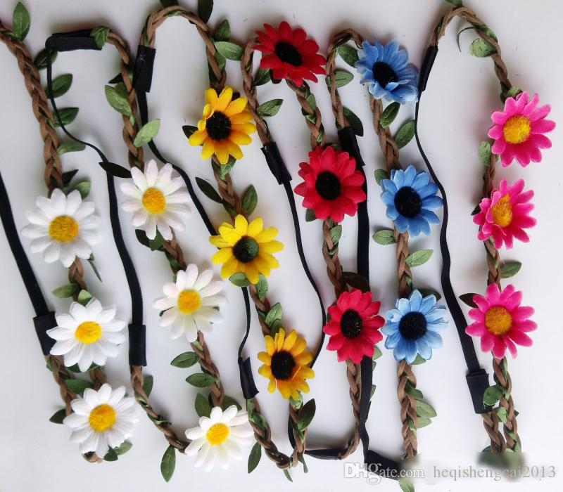 hot sale Bohemian Headband Women/girls three Flowers Braided Leather Elastic Head wrap sunflower hair band mix Colors Hair Ornaments 100pcs