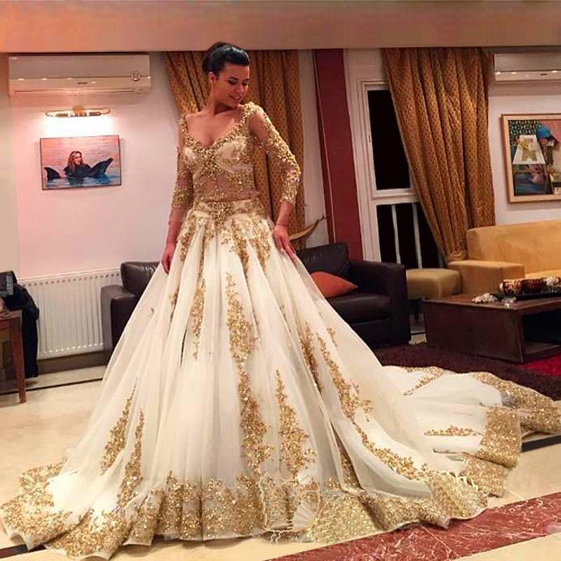 Vestidos de novia tradicionales africanos Apliques de oro Mangas largas formales 2019 Vestidos nupciales Tren de barrido Organza Vestidos árabes