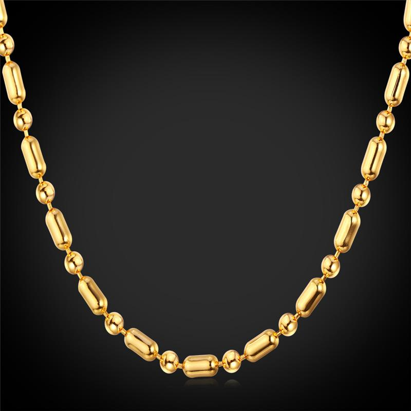 4d3b1946c1d0 2019 Unisex Gold Ball Chain To Match Pendants Platinum 18K Gold Plated  Women Men Thin Bead Chain Necklace From Yoyozhen