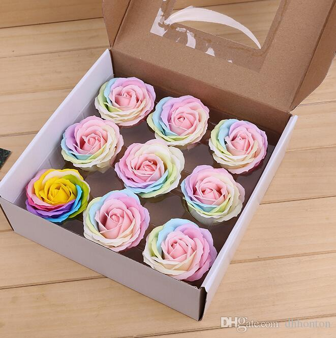 Rainbow ful Rose Soaps Flower Packed Wedding Supplies Gifts Event Party Goods Favor bathroom accessories soap flower artificial SR11
