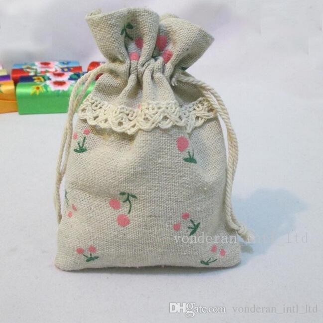 Хлопок и белье Drawnstring сумки подарочные пакеты хлопок сумки 10 * 13 см 13 * 18 см пакет сумки подарок Гессенский пакет маленький мешок мешок мешковины