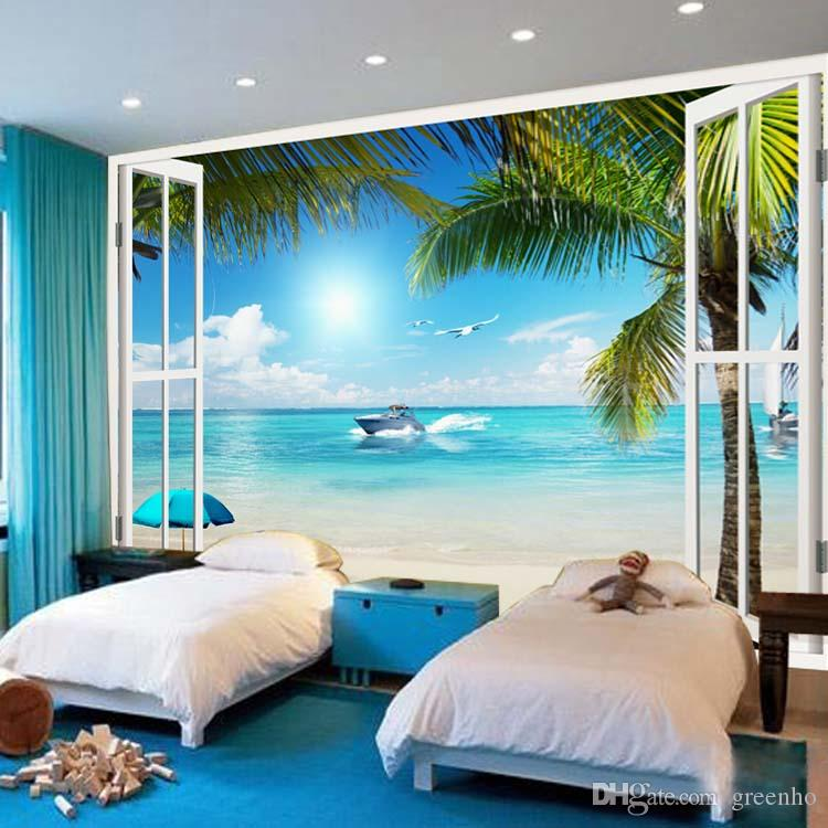 1 Bedroom Apartment Decorating Bedroom Ceiling Art Images Of Bedroom Paint Ideas Bedroom Background Cartoon: Large Wallpaper Window 3D Beach Seascape View Wall