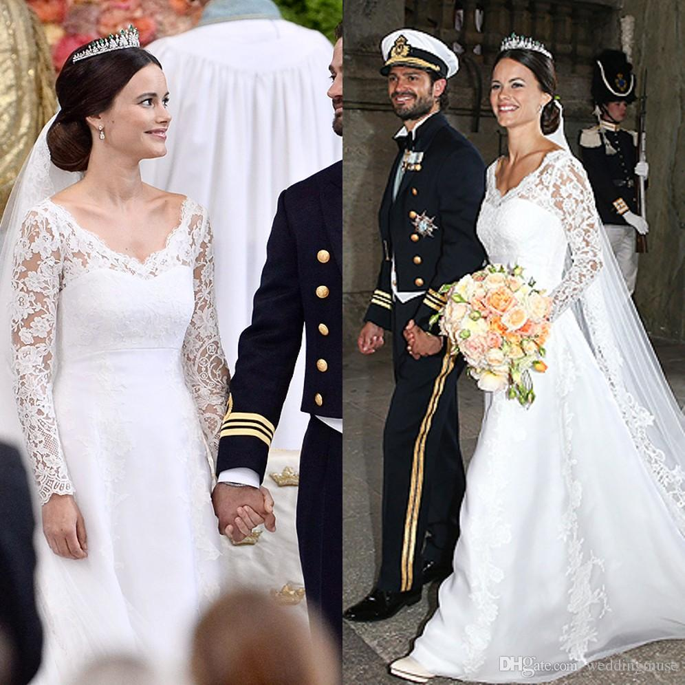 Sweden Prince Royal Wedding Sofia Hellqvist Stunning Dress Lace Sleeves Over A Whit Bodice Maria Ruiz Chapel Train Crown Veil 2015 Dresses: Swedish Royal Wedding Dresses At Websimilar.org