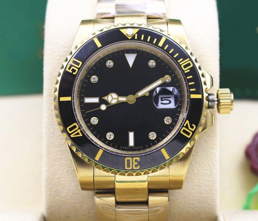 f3391559 Luxury High Quality Men s 116618 18k Yellow Gold Black Dial Mechanical  Automatic Mens Watches 40mm Ceramic Bezel diamond Men s WristWatches