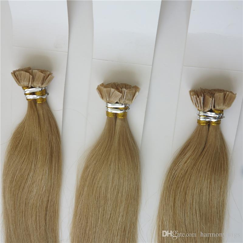 100% Human Hair Flat Tip Hair Extensions Straight Dyeable Brazilian Remy Hair Customize Shedding Tangle Free 25