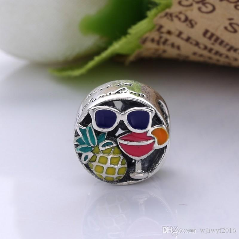 New Fun, Mixed Enamel Charms Beads Authentic 925 Sterling Silver Enamel Beads Fit Original Brand Bracelets DIY Jewelry Making Accessories