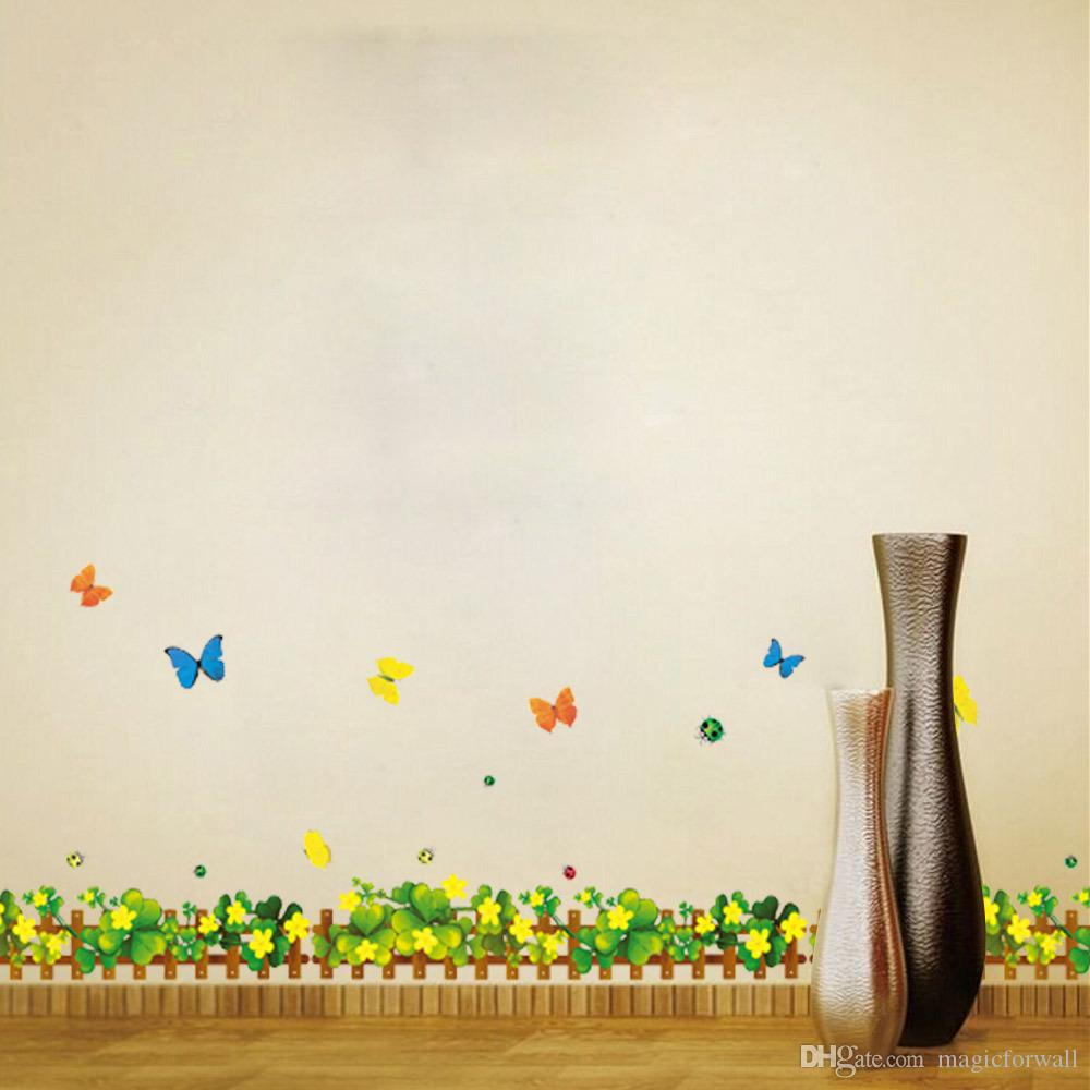 Flowers Fence Butterfly Wall Art Mural Decal Sticker Home Decoration Wallpaper Decor Poster Balcony Kitchen Living Room Border Wall Decal
