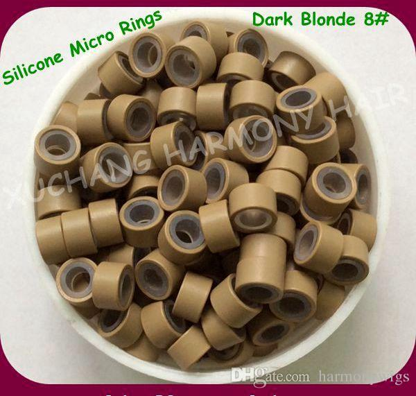 ( 1000pcs/bag ) 4.5mm Dark Blonde Aluminum Silicone Micro Rings for Pre-tip Hair Extensions Hair Extension Tools