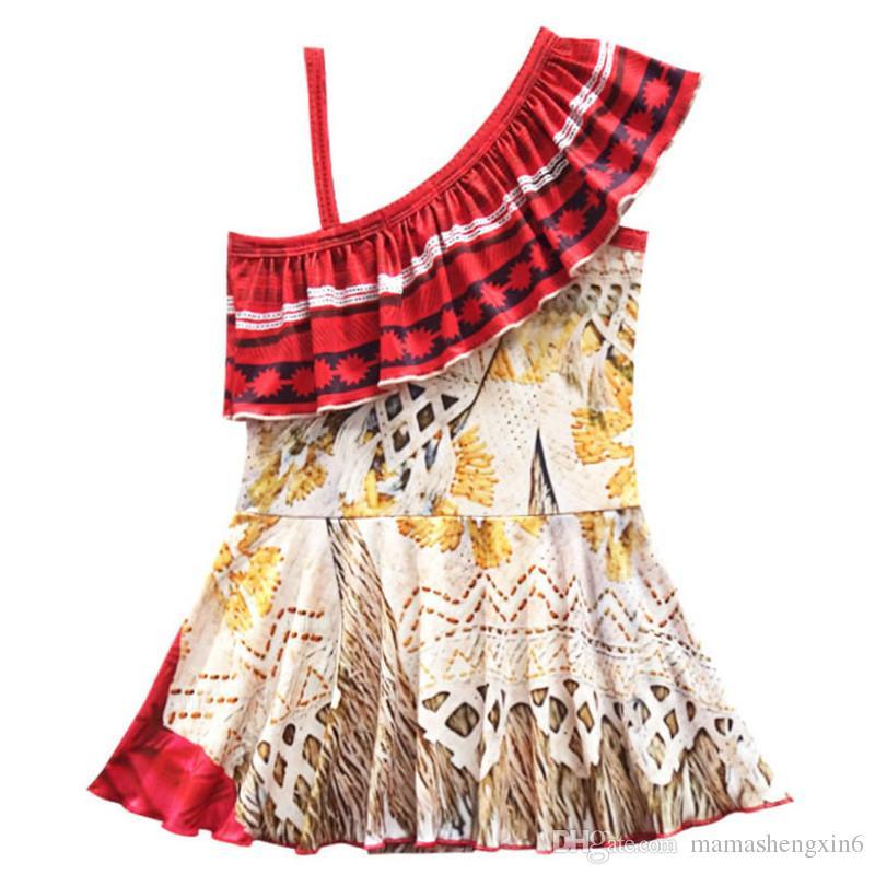 Okyanus Romantizm kız yüzme giyim iki adet bölünmüş mayo etek çocuk satılık bir omuz yelek etek mayo set