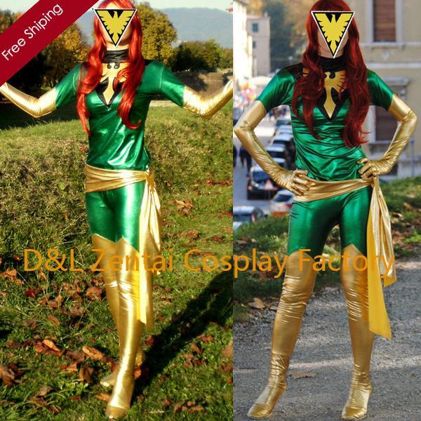 free shipping dhl wholesale amazing x men phoenix shiny metallic gold green superhero zentai catsuit costume halloween costume - Halloween Costumes In Phoenix