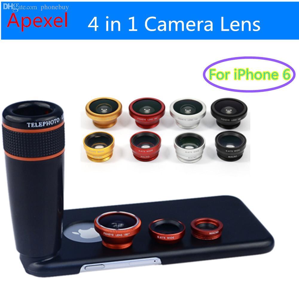 Atacado-Apexel Camera Lense Phone com 12X Zoom Lente Telefoto + Macro  Grande Angular + olho de peixe Fisheye lente com tampa para 6