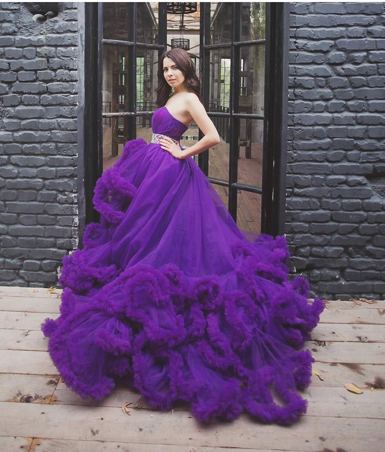 Compre Vestido De Boda Púrpura Del Diseñador De Lujo 2016 Vestido De ...