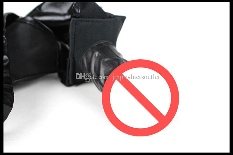 Faux leather latex male female masturbation underwear dildo panties pants with anal dildo penis plug chastity belt sex toy for women