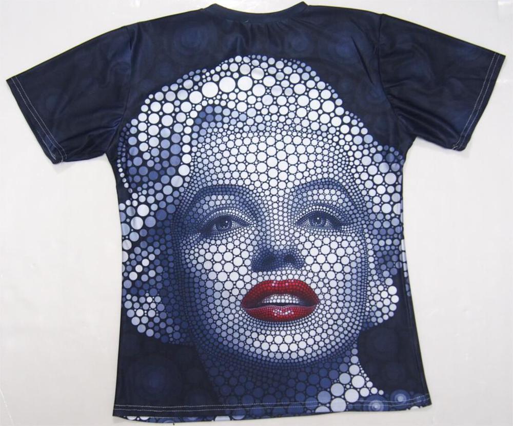 FG1509 mujeres hombres camisetas divertidas diseño creativo Marilyn Monroe imprimir gráfico camisetas casual negro 3d camiseta tops camisetas