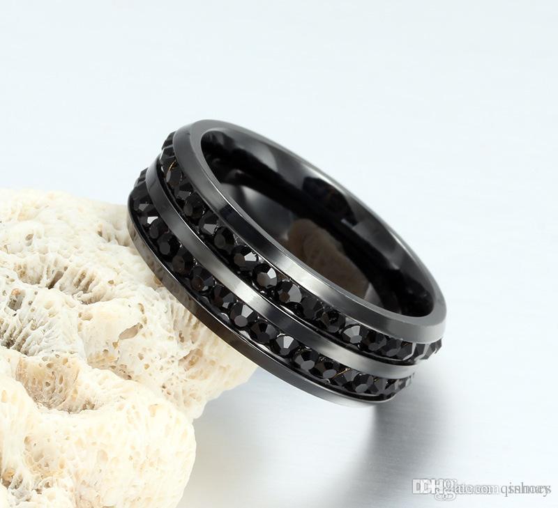 Wholesale Luxury Mens Jewelry Black Crystal Rings 8mm Titanium