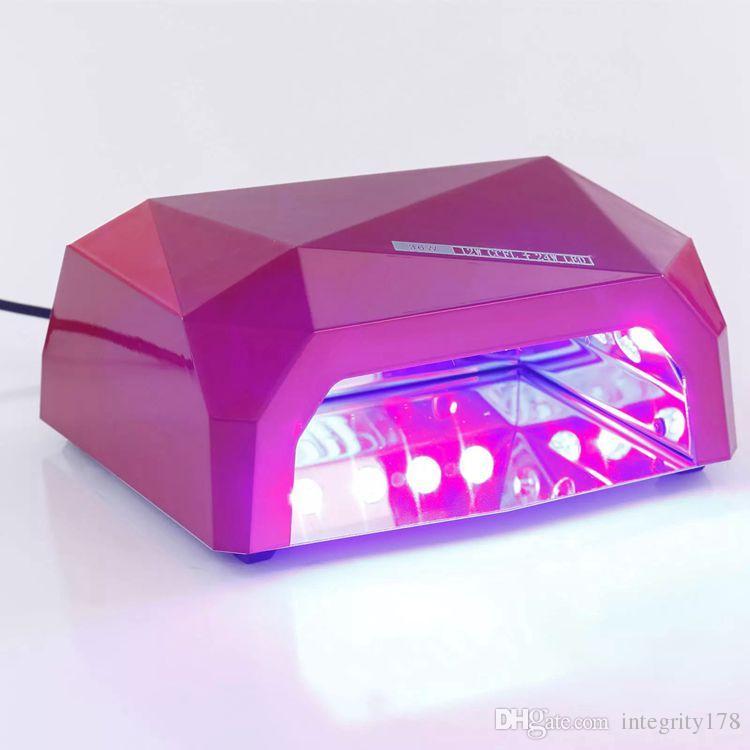 الأزياء ccfl 36w أدى ضوء الماس شكل أفضل علاج مسمار مجفف مسمار الفن مصباح آلة العناية بالأشعة فوق البنفسجية هلام الأظافر