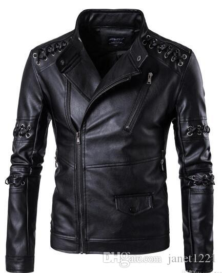 High Quality Men's Leather Motorcycle Jackets Plus Size Fashion 5XL Winter Stand Collar Fur Male Bomber Braided Rope Jacket Coat T17070
