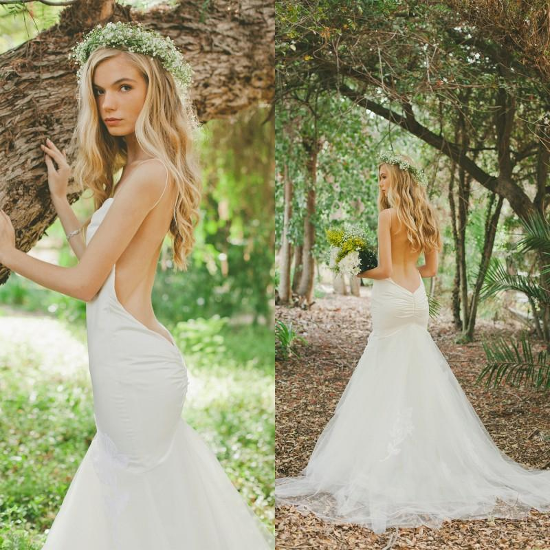 Bohemian Sexy Stain And Tulle Low Back Mermaid Wedding