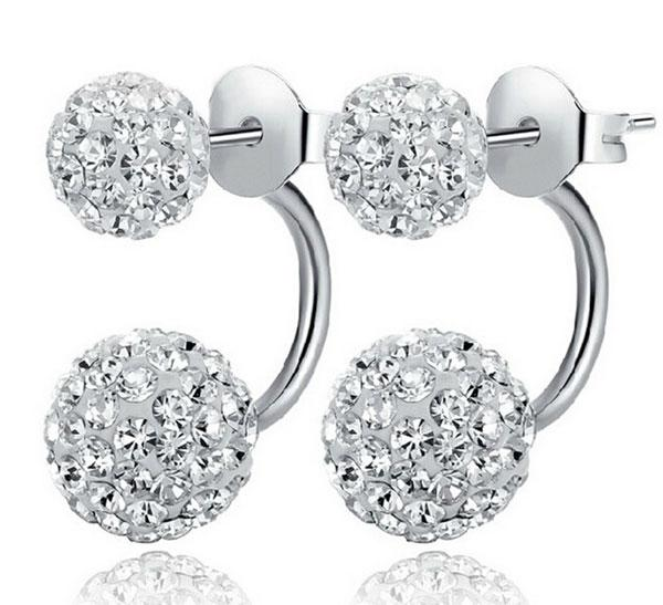 New Jewelry Crystal Disco Ball Stud Earrings Austrian Crystal 925 Sterling Silver Earrings for Wedding Party 8mm/10mm/12mm