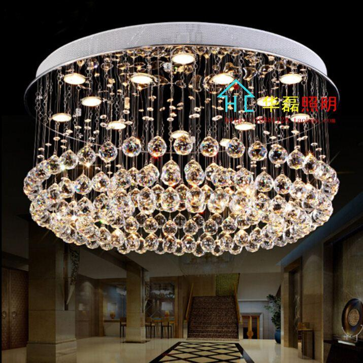 Free Shipping Crystal Light Low Level Circular Living Room Lights Ceiling LED Restaurant Chandelier Hanging Wire Proje
