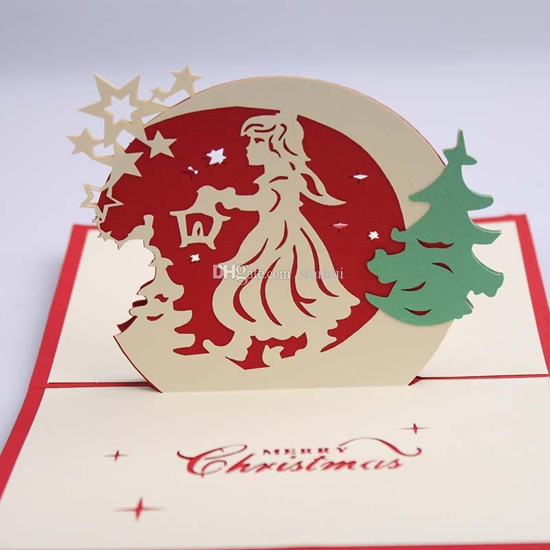 9 تصميم بطاقة عيد الميلاد 3d المنبثقة بطاقات المعايدة عيد جرس حزب دعوات ورقة بطاقة شخصية التذكار بطاقات بريدية هدية WX9-129