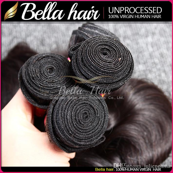 Bella Hair® 8A Unprocessed Brazilian Hair Bundles Virgin HairExtensions Human Hair Weave Natural Color Body Wave Straight Loose Wave Curly