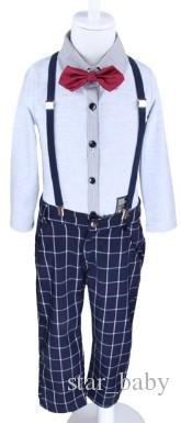 ملابس الأولاد ملابس الأطفال 2015 الربيع صفحة الصبي مجموعات رسمية بزي القوس التعادل طويلة الأكمام قميص قميص منقوش وزرة السراويل هدفين I2791