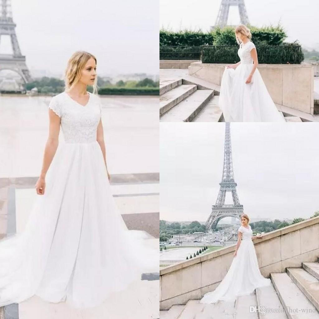 46f299d9d78 Discount Simple Elegant Bohemian Wedding Dresses 2018 Lace Top Cap Sleeves  Summer Beach A Line Tulle Bridal Gowns For Garden Weddings Empire Line  Wedding ...